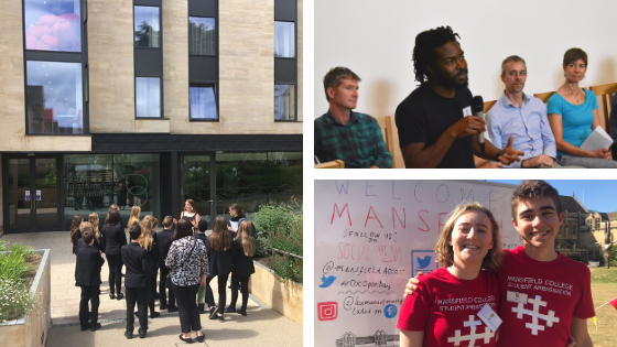 "Three images in a montage. The first shows a school group visiting to the Hands Building of Mansfield, the second has a Mansfield student speaking as part of a panel discussion with tutors in the auditorium and the third has two student helpers in matching red Mansfield tshirts on an open day (standing in front of a whiteboard that has ""Welcome to Mansfield"" written on it."