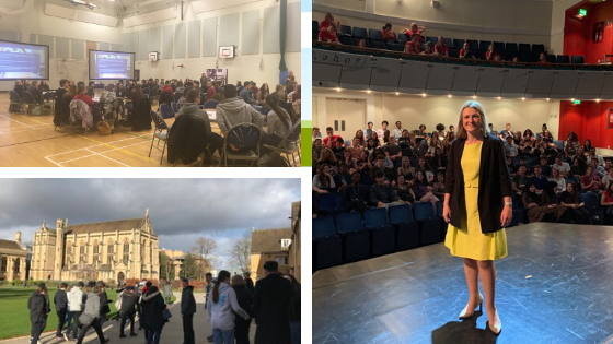 A montage of three pictures. One is the Mansield team running an access event in a sports hall. Their are multiple round tables of sixth formers set up. The second is a school group having a tour of the Mansfield site. The third is Helen Mountfield smiling for the camera from the stage, with a sixth form college audience filling the auditorium behind her.