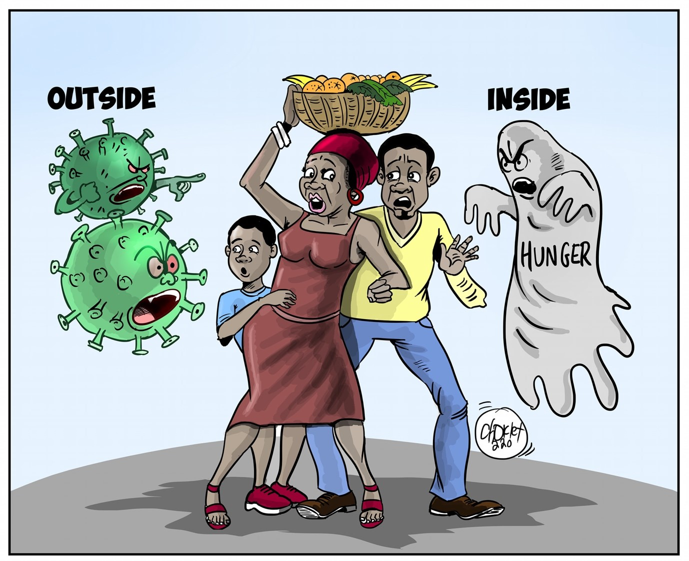 Cartoon of a family facing hunger and pandemic