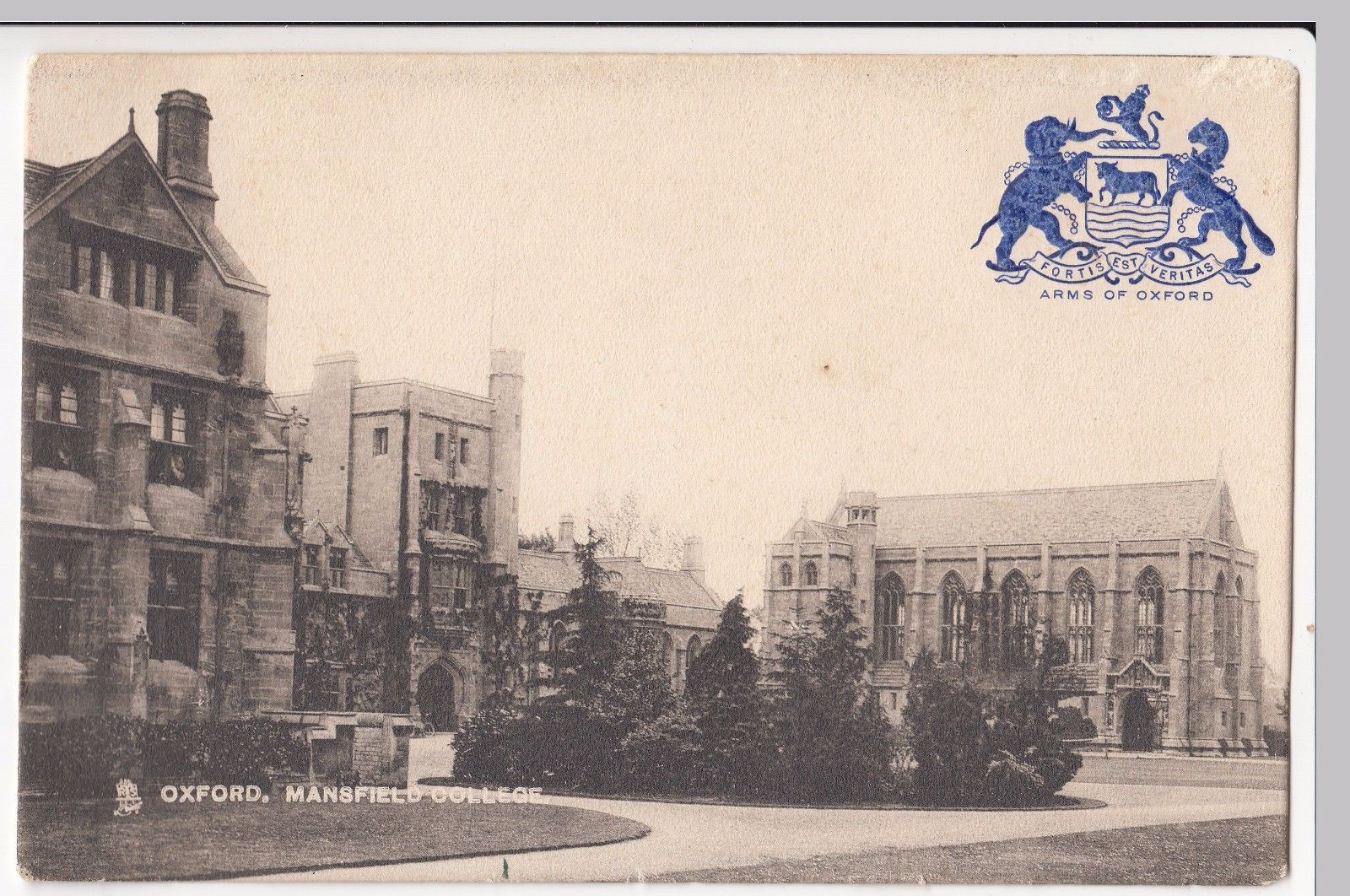 "Mansfield in the late mid-century. The image is a postcard and it says ""Mansfield College, Oxford"" in the top left. A view of the whole quad from where the Garden Building currently stands. Instead of the John Marsh building, there is a patch of grass"