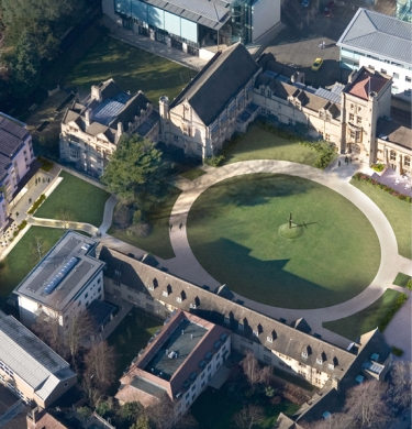 An aerial view of the Mansfield College site with the distinctive circular quad and Tower.