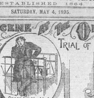 Contemporary newspaper illustration of Oscar Wilde's trial at the Old Bailey.