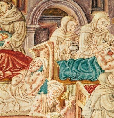 Links to an brief article on medieval responses to plague, and shows a medieval image of plague victims.