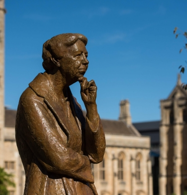 The Eleanor Roosevelt Statue on the Mansfield quad.