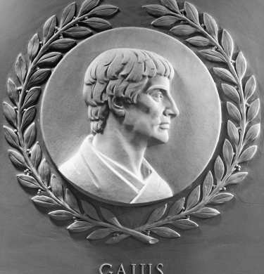 Links to a brief discussion of Gaius dividing laws into those relating to persons, things or actions, and shows an image of Gaius.