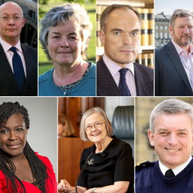A collage of the 7 new honorary fellows. From L-R: Sir Ian Blatchford, Sarah Harkness, The Rt Hon Lord Justice Dingemans, General Sir Chris Deverell KCB MBE, Dr Maggie Aderin-Pocock MBE, Rt Hon the Baroness Hale of Richmond DBE PC LLD FBA and Admiral Sir Philip Jones GCB DL and A