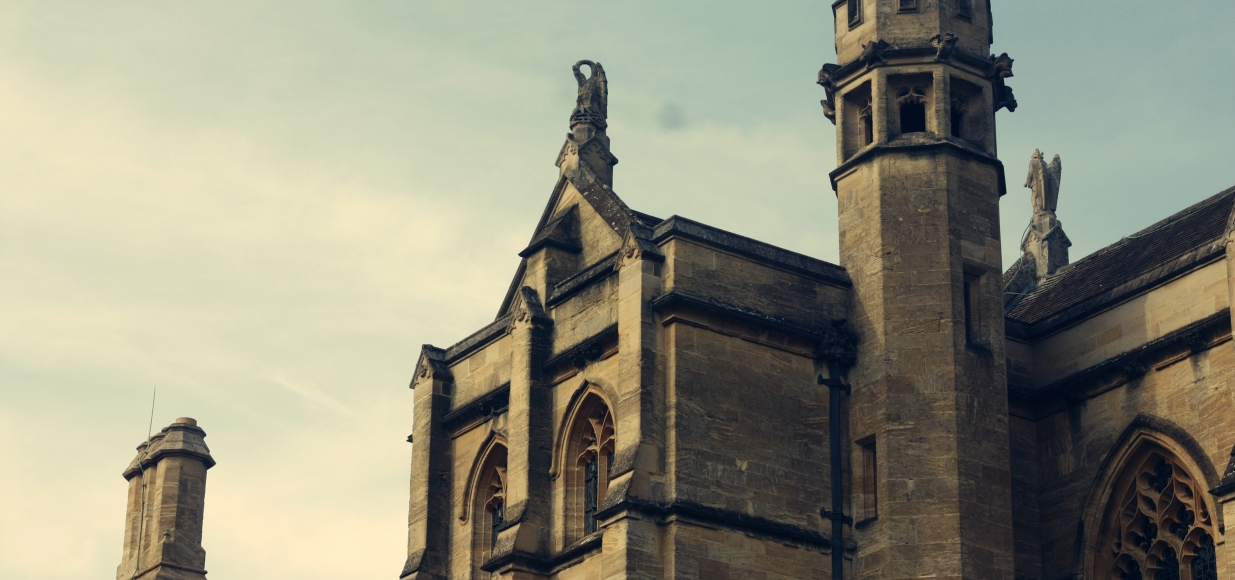A close-up shot of the roof and details of the Mansfield Chapel. Detailed stone carvings.