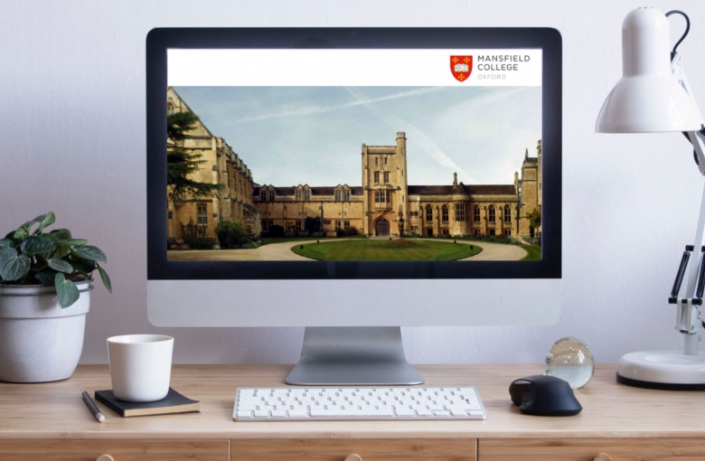 Computer Screen with an image of Mansfield College show on the display screen.