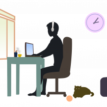 Cartoon image of a young person at a desk working from home.